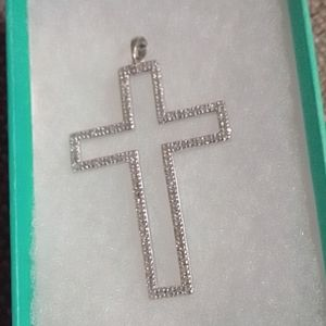 New 14k Pave Silver White, Gold Cross